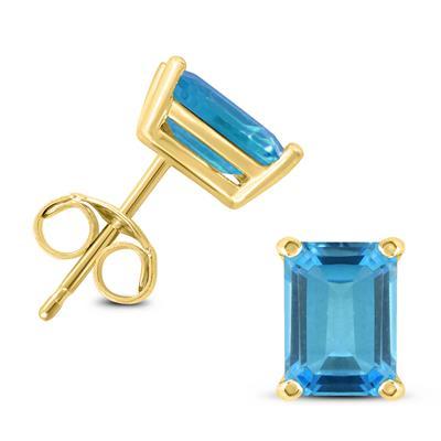 14K Yellow Gold 7x5MM Emerald Shaped Blue Topaz Earrings