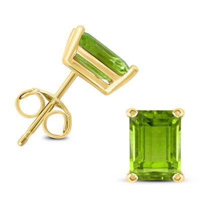 14K Yellow Gold 7x5MM Emerald Shaped Peridot Earrings