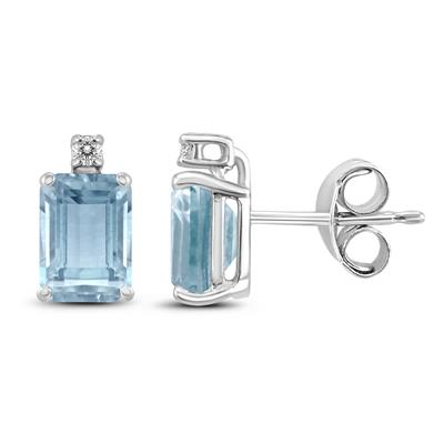 14K White Gold 5x3MM Aquamarine Aquamarine Emerald and Diamond Earrings