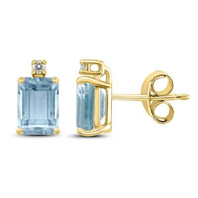14K Yellow Gold 5x3MM Emerald Shaped Aquamarine and Diamond Earrings