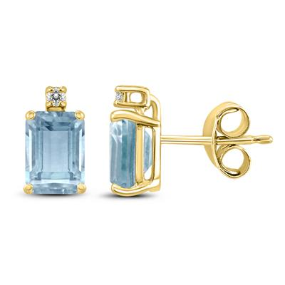 14K Yellow Gold 6x4MM Emerald Shaped Aquamarine and Diamond Earrings