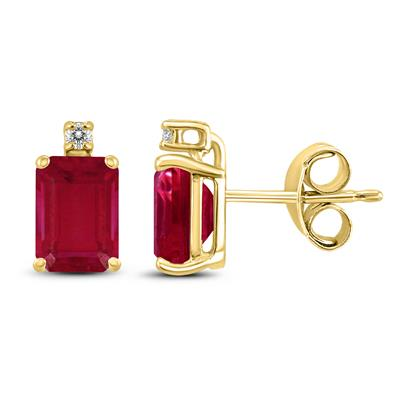 14K Yellow Gold 6x4MM Emerald Shaped Ruby and Diamond Earrings
