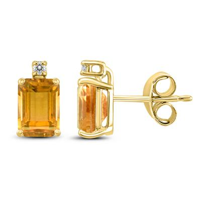 14K Yellow Gold 7x5MM Emerald Shaped Citrine and Diamond Earrings