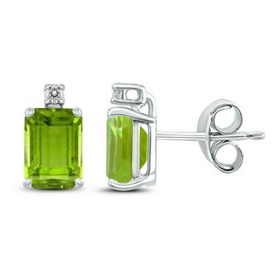 14K White Gold 8x6MM Emerald Shaped Peridot and Diamond Earrings