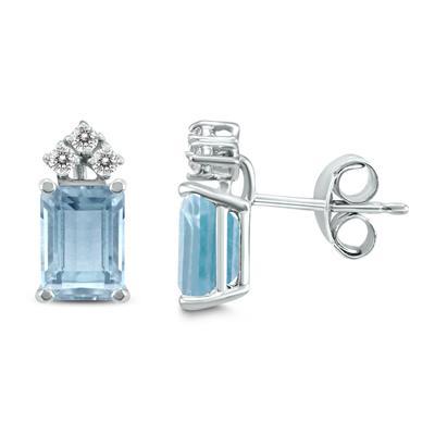 14K White Gold 5x3MM Emerald Shaped Aquamarine and Diamond Earrings