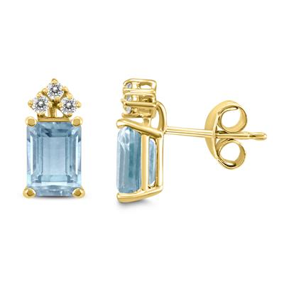 14K Yellow Gold 5x3MM Emerald Shaped Aquamarine and Diamond Earrings