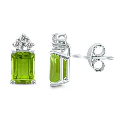 14K White Gold 6x4MM Emerald Shaped Peridot and Diamond Earrings