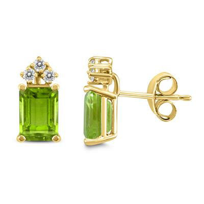 14K Yellow Gold 6x4MM Emerald Shaped Peridot and Diamond Earrings