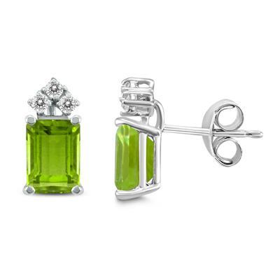 14K White Gold 7x5MM Emerald Shaped Peridot and Diamond Earrings