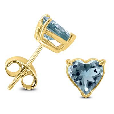 14K Yellow Gold 4MM Heart Aquamarine Earrings