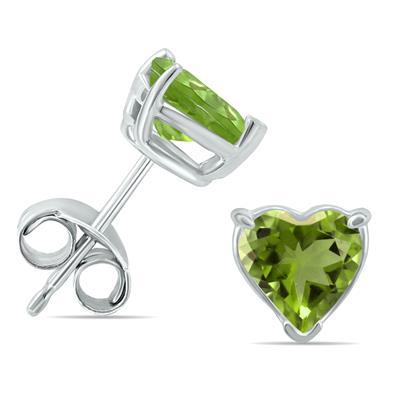 14K White Gold 5MM Heart Peridot Earrings