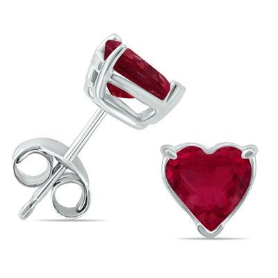 14K White Gold 5MM Heart Ruby Earrings