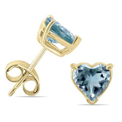 14K Yellow Gold 5MM Heart Aquamarine Earrings