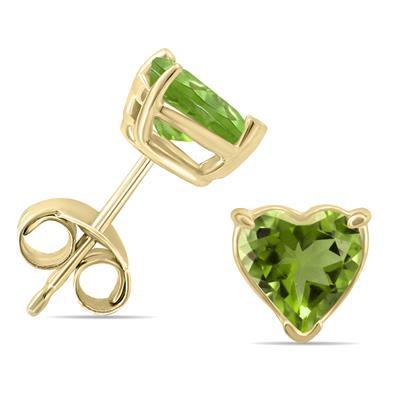 14K Yellow Gold 5MM Heart Peridot Earrings