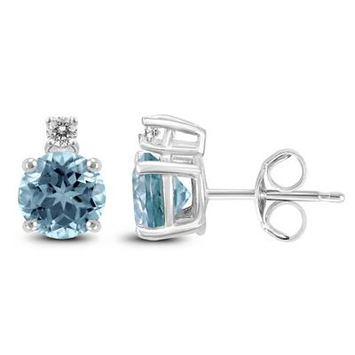 14K White Gold 4MM Round Aquamarine and Diamond Earrings