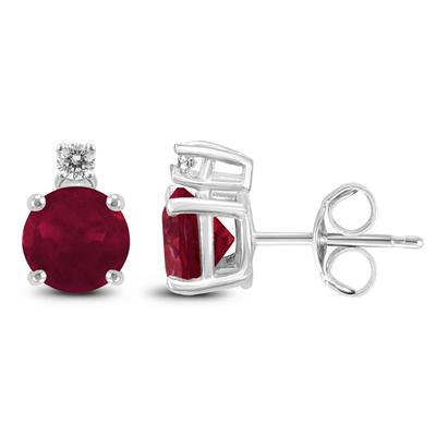 14K White Gold 4MM Round Ruby and Diamond Earrings