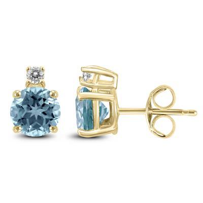 14K Yellow Gold 4MM Round Aquamarine and Diamond Earrings