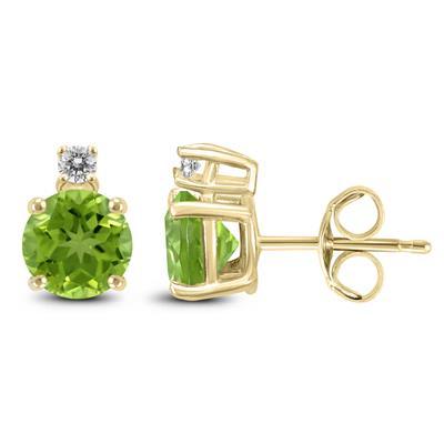 14K Yellow Gold 5MM Round Peridot and Diamond Earrings
