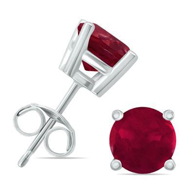 14K White Gold 4MM Round Ruby Earrings