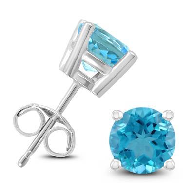 14K White Gold 6MM Round Blue Topaz Earrings