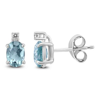 14K White Gold 5x3MM Oval Aquamarine and Diamond Earrings