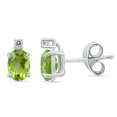 14K White Gold 6x4MM Oval Peridot and Diamond Earrings