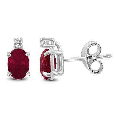 14K White Gold 6x4MM Oval Ruby and Diamond Earrings