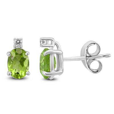 14K White Gold 8x6MM Oval Peridot and Diamond Earrings