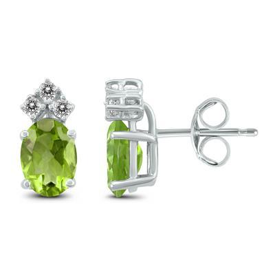 14K White Gold 7x5MM Oval Peridot and Diamond Earrings