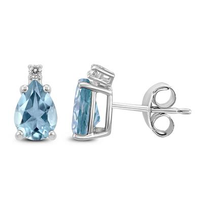 14K White Gold 5x3MM Pear Aquamarine and Diamond Earrings
