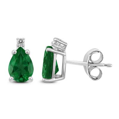 14K White Gold 5x3MM Pear Emerald and Diamond Earrings