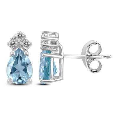 14K White Gold 5x3MM Pear Aquamarine and Diamond Earrings
