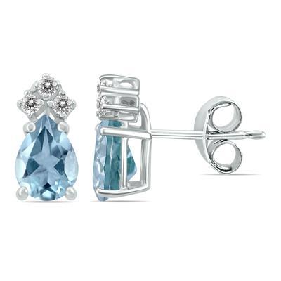 14K White Gold 6x4MM Pear Aquamarine and Diamond Earrings