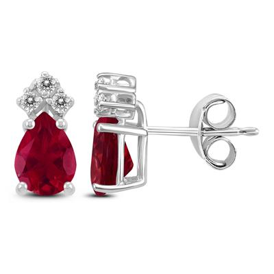 14K White Gold 6x4MM Pear Ruby and Diamond Earrings