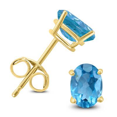 14K Yellow Gold 6x4MM Oval Blue Topaz Earrings
