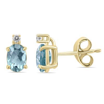 14K Yellow Gold 5x3MM Oval Aquamarine and Diamond Earrings