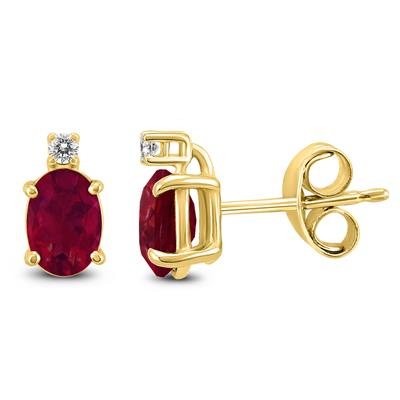 14K Yellow Gold 5x3MM Oval Ruby and Diamond Earrings