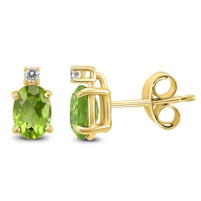 14K Yellow Gold 7x5MM Oval Peridot and Diamond Earrings