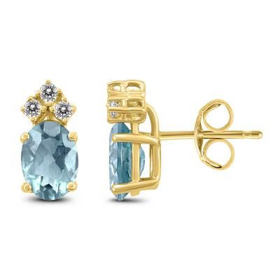 14K Yellow Gold 5x3MM Oval Aquamarine and Diamond Earrings