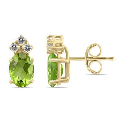 14K Yellow Gold 6x4MM Oval Peridot and Diamond Earrings