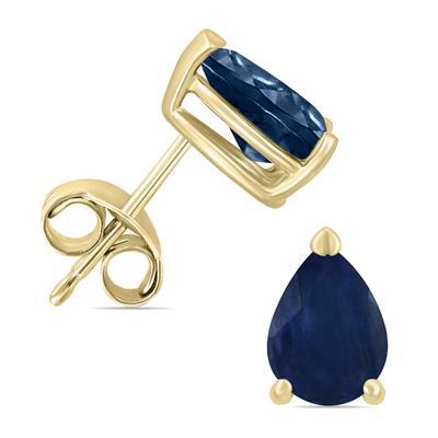14K Yellow Gold 5x3MM Pear Sapphire Earrings