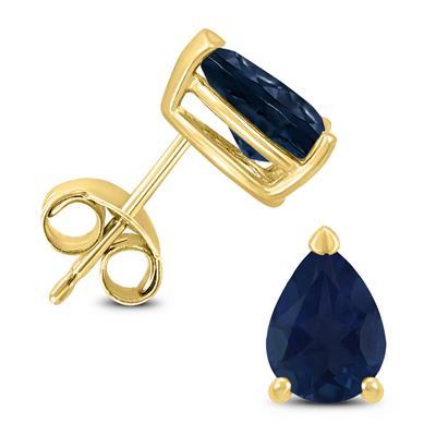 14K Yellow Gold 6x4MM Pear Sapphire Earrings