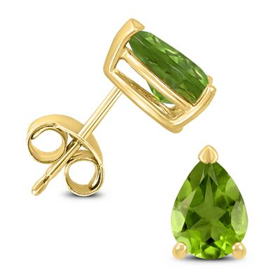 14K Yellow Gold 7x5MM Pear Peridot Earrings