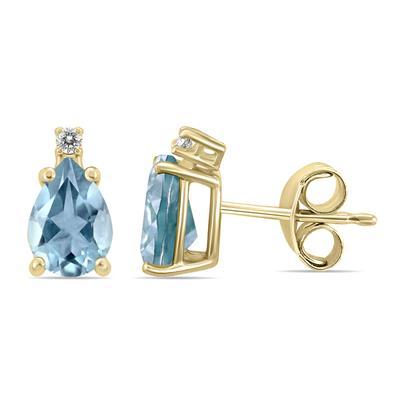 14K Yellow Gold 6x4MM Pear Aquamarine and Diamond Earrings