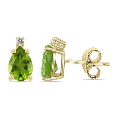 14K Yellow Gold 6x4MM Pear Peridot and Diamond Earrings