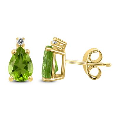 14K Yellow Gold 7x5MM Pear Peridot and Diamond Earrings