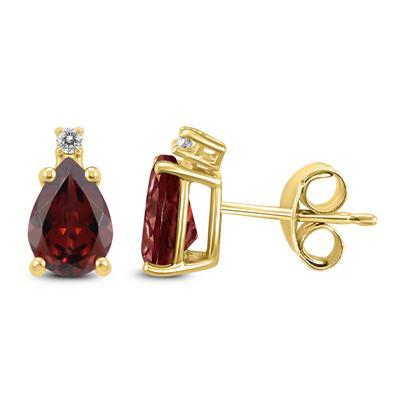 14K Yellow Gold 8x6MM Pear Garnet and Diamond Earrings