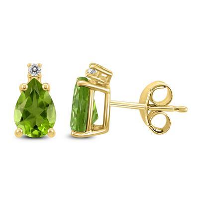14K Yellow Gold 8x6MM Pear Peridot and Diamond Earrings