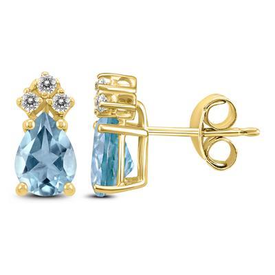 14K Yellow Gold 5x3MM Pear Aquamarine and Diamond Earrings