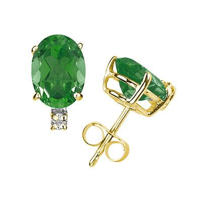 7X5mm Oval Emerald and Diamond Stud Earrings in 14K Yellow Gold